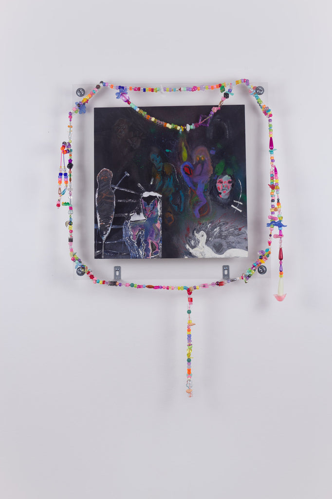 'Untitled 13', 2019- August 2020, acrylic and spray paint on metallic card with found plastic bead necklace frame
