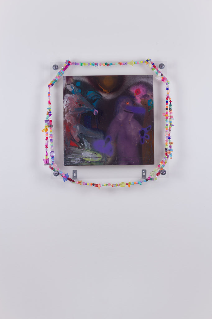 'Untitled 5', 2019-2020, acrylic and spray paint on metallic card with found plastic bead necklace frame