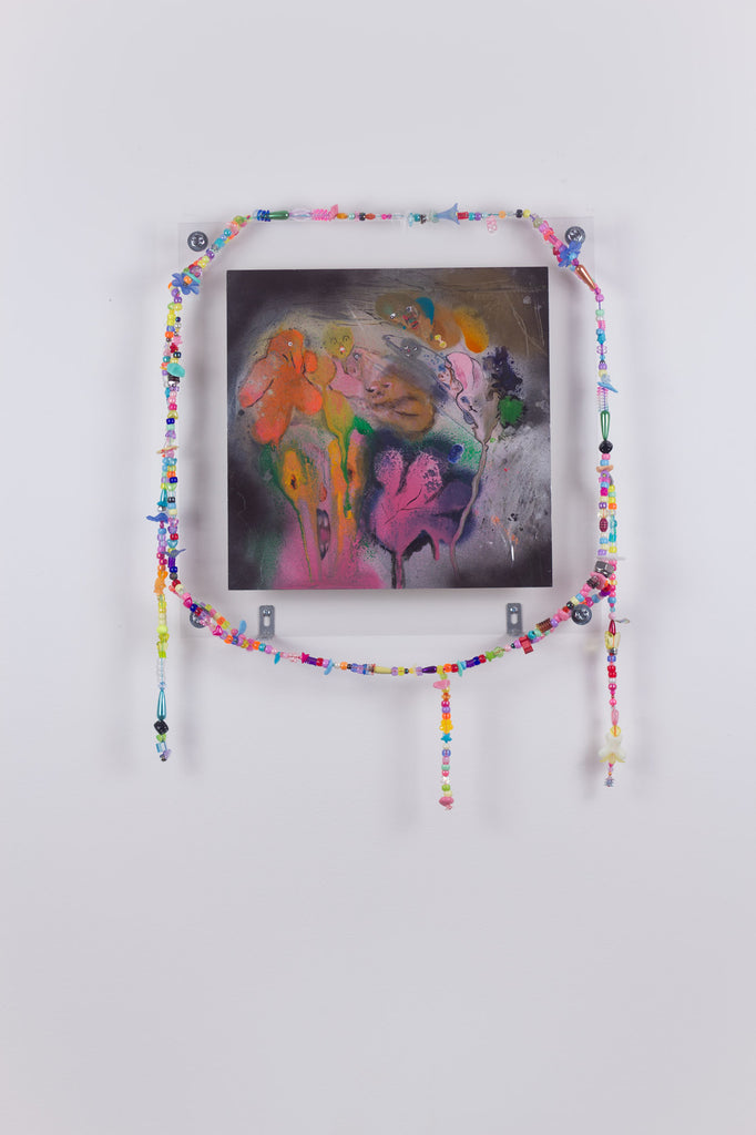 'Untitled 1', 2019, acrylic and spray paint on metallic card with found plastic bead necklace frame