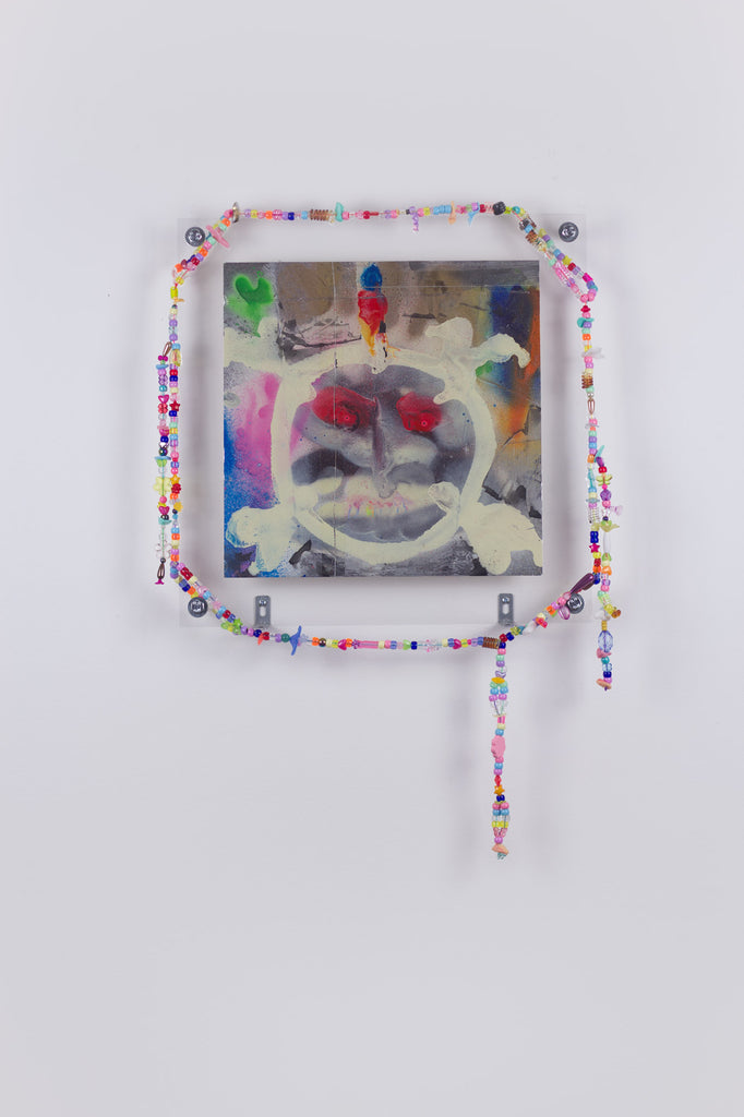 'Untitled 4', 2019, acrylic and spray paint on metallic card with found plastic bead necklace frame