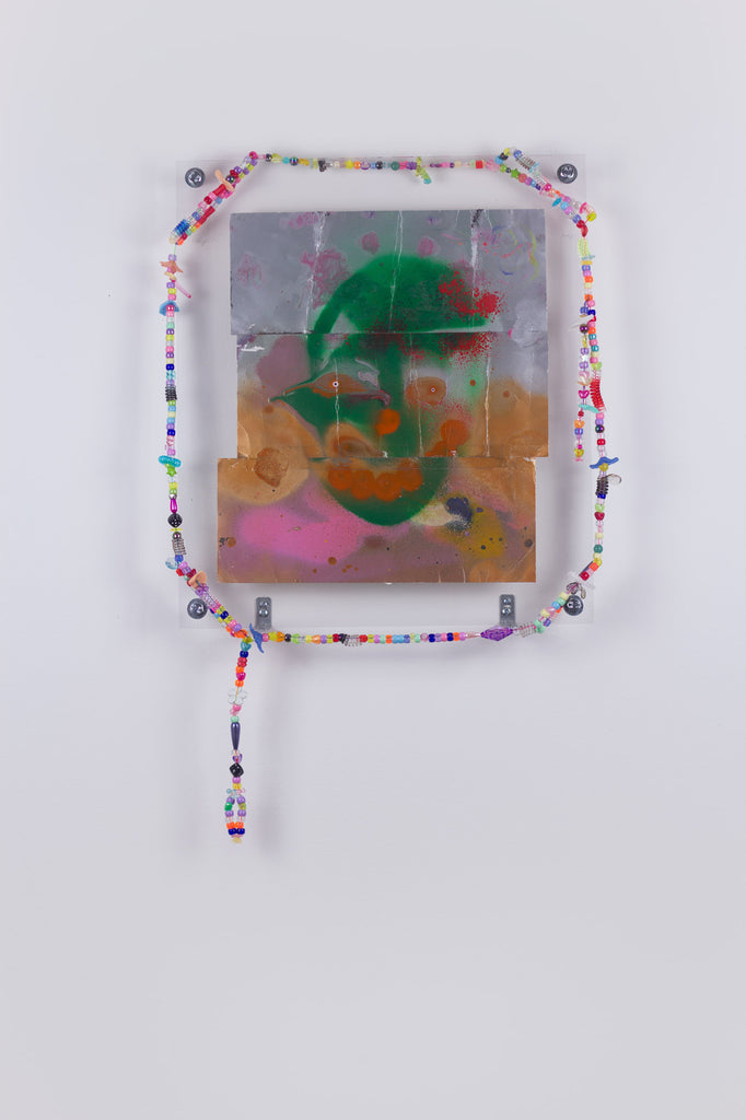 'Untitled 3', 2019, acrylic and spray paint on metallic card with found plastic bead necklace frame