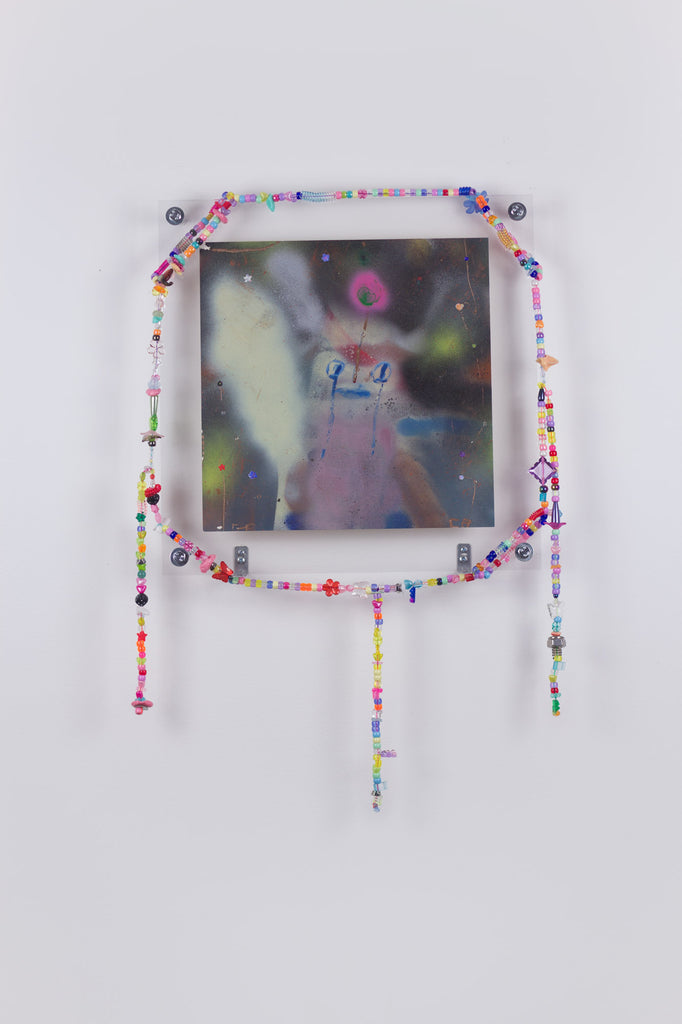 'Untitled 14', 2019- August 2020, acrylic and spray paint on metallic card with found plastic bead necklace frame