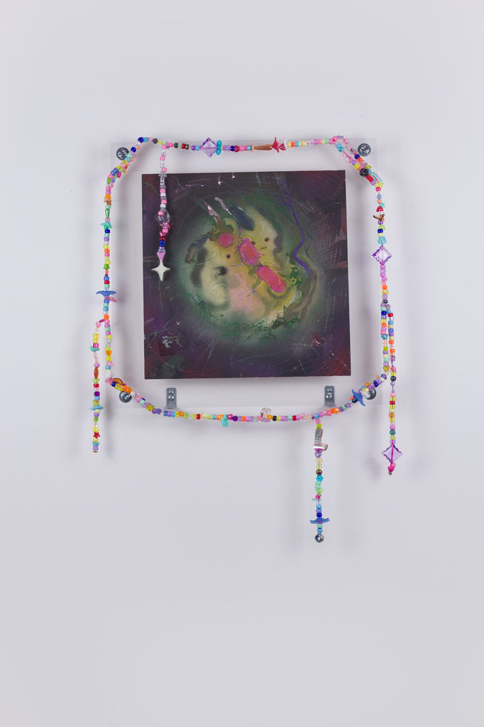 'Untitled 11', 2019- August 2020, acrylic and spray paint on metallic card with found plastic bead necklace frame