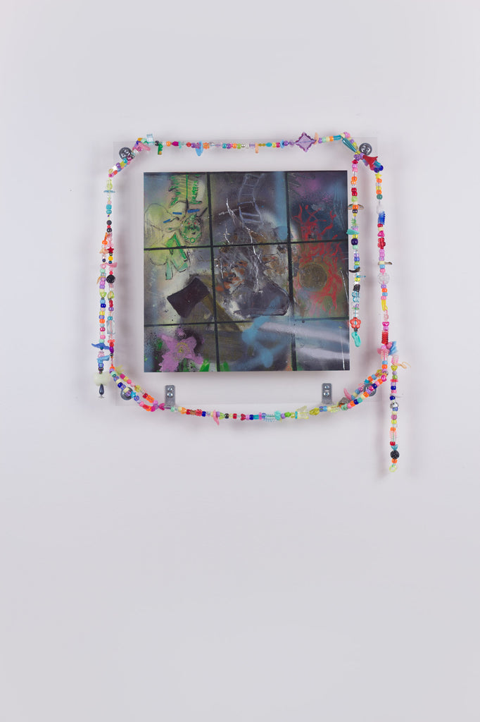 'Untitled 15', 2019- August 2020, acrylic and spray paint on metallic card with found plastic bead necklace frame