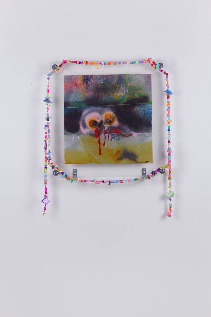 'Untitled 7', 2019- 2020, acrylic and spray paint on metallic card with found plastic bead necklace frame