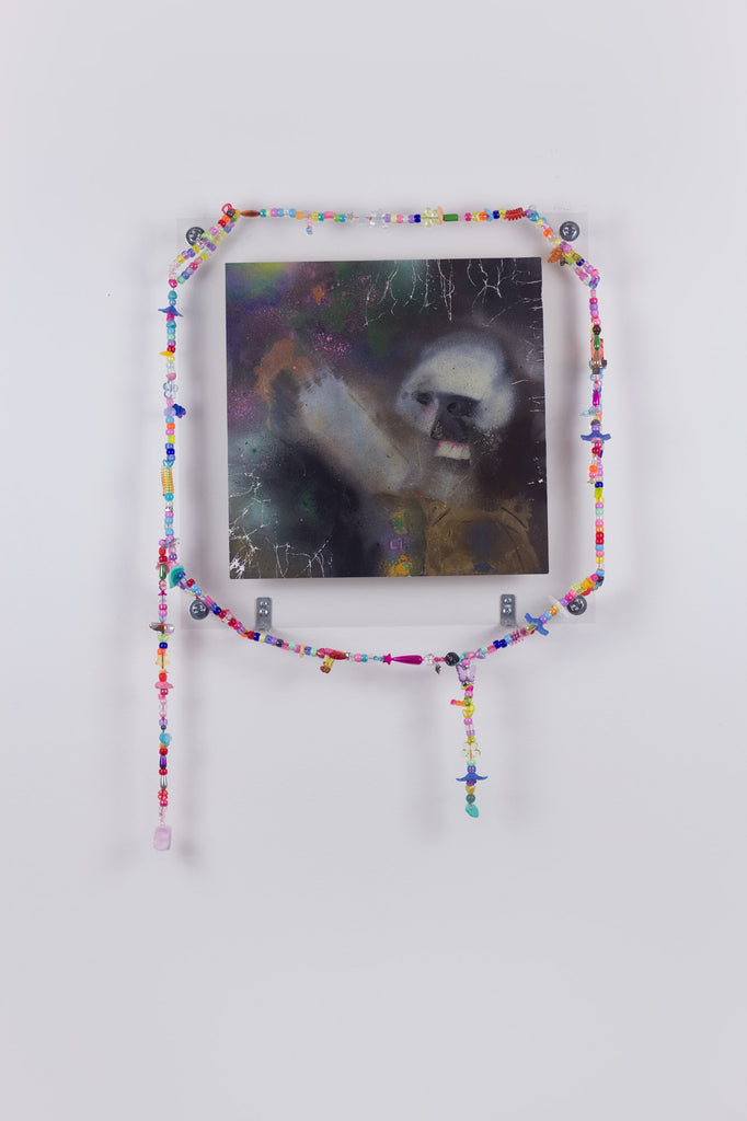 'Untitled 8', 2019- 2020, acrylic and spray paint on metallic card with found plastic bead necklace frame