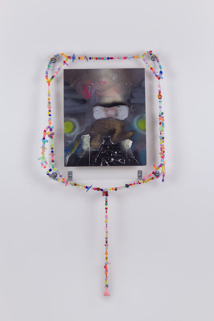 'Untitled 12', 2020, acrylic and spray paint on metallic card with found plastic bead necklace frame