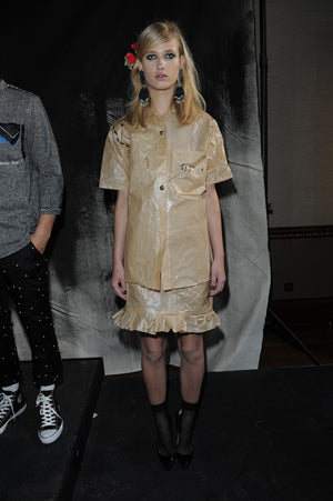 Claire Barrow Spring/Summer 2013 Look 9 Brown Baking paper 'Tequila' printed shirt and skirt