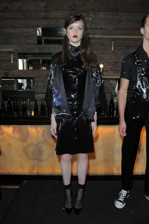 Claire Barrow Spring/Summer 2013 Look 3 Jack embroidered silk kimono and rubber dress