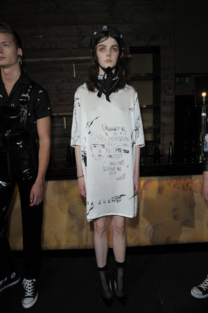 Claire Barrow Spring/Summer 2013 Look 5 Silk screen printed dress and straw hat