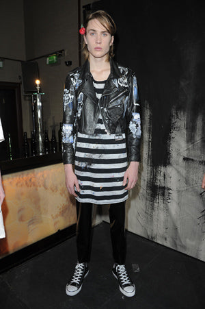 Claire Barrow Spring/Summer 2013 Look 6 Vodka hand painted cropped black biker jacket and striped dress