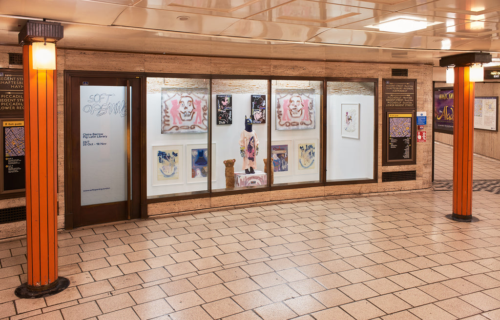 'Pig Latin Library' Solo Show at Soft Opening London, in Piccadilly Circus Underground Station