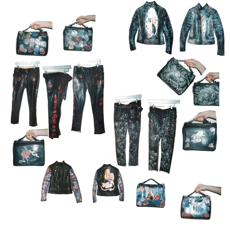 Claire Barrow's limited edition collection with Joseph products. one-off hand painted leather biker jackets, trousers and bags with floral and biker motifs