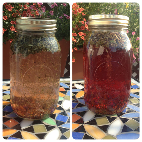 herbal tea, loose leaf tea, tea blend, jar, water, brew, sun tea, summer