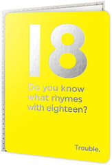 Birthday Card - Rhymes With Eighteen