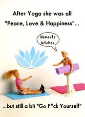 Funny Cards - Yoga - Peace, Love And Happiness