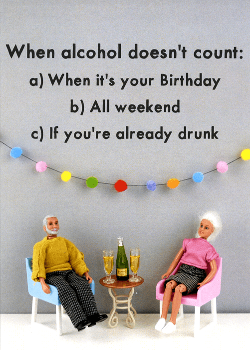 Birthday Card - When Alcohol Doesn't Count