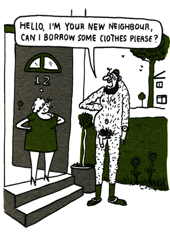 Funny Cards - New Neighbour - Borrow Some Clothes Please