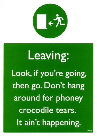 Leaving: Phoney crocodile tears