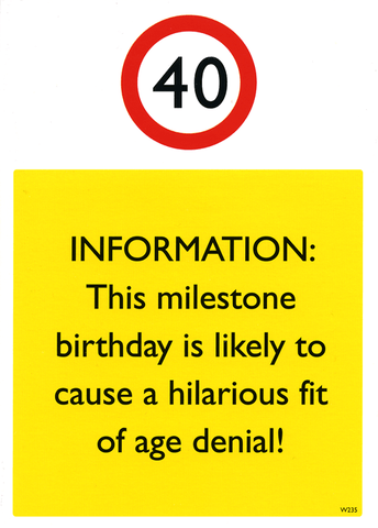 Birthday Card - 40 - Age Denial