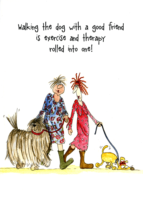 Funny Cards - Walking Dog - Exercise And Therapy