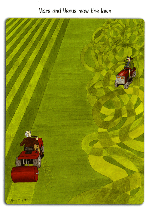 Funny Cards - Mars And Venus Mow The Lawn