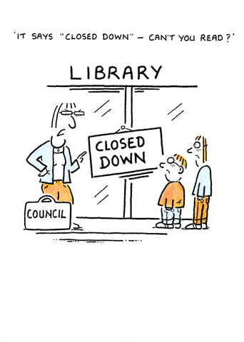 Funny Cards - Library - Closed Down