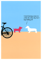 Funny Cards - Dog - Chasing A Man On A Bike