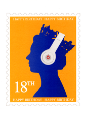 Birthday Card - 18th Birthday - Postage Stamp