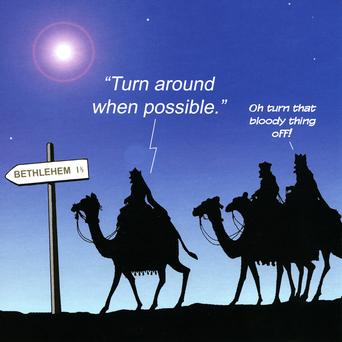 Funny Christmas Cards - Turn Around When Possible