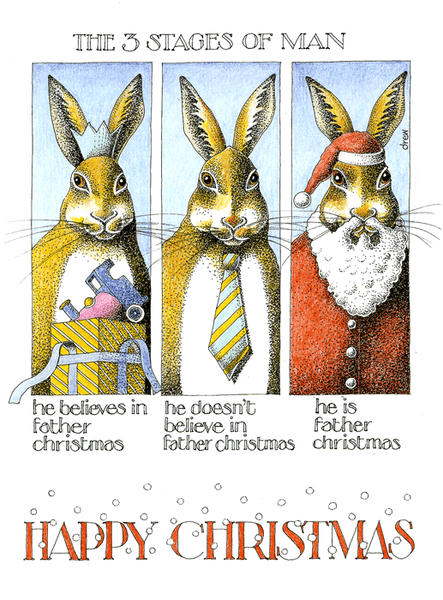 Father Christmas The Three Stages Of Man Funny Card By