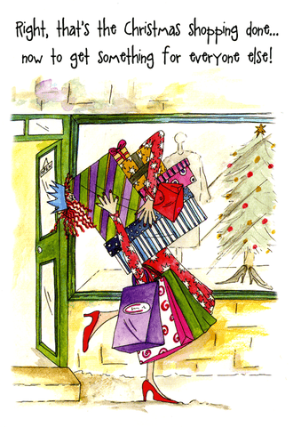 Funny Christmas Cards - That's The Christmas Shopping Done . . . (6 X 4 Inches)