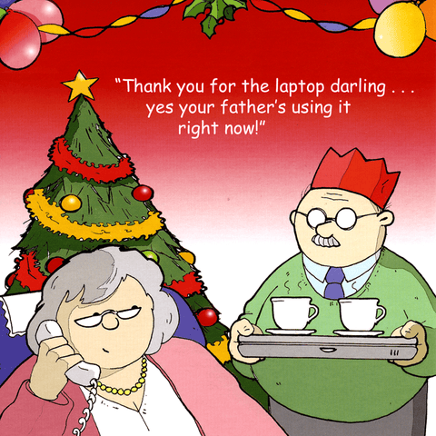 Funny Christmas Cards - Laptop - Father's Using It Right Now