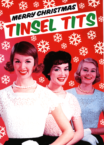 Funny Christmas Cards - Merry Christmas Tinsel Tits