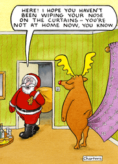 Funny Christmas Cards - Not Wiping Your Nose On The Curtains