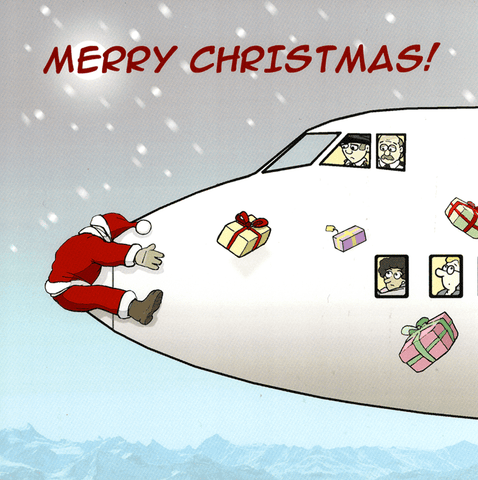 Funny Christmas Cards - Santa And The Aeroplane
