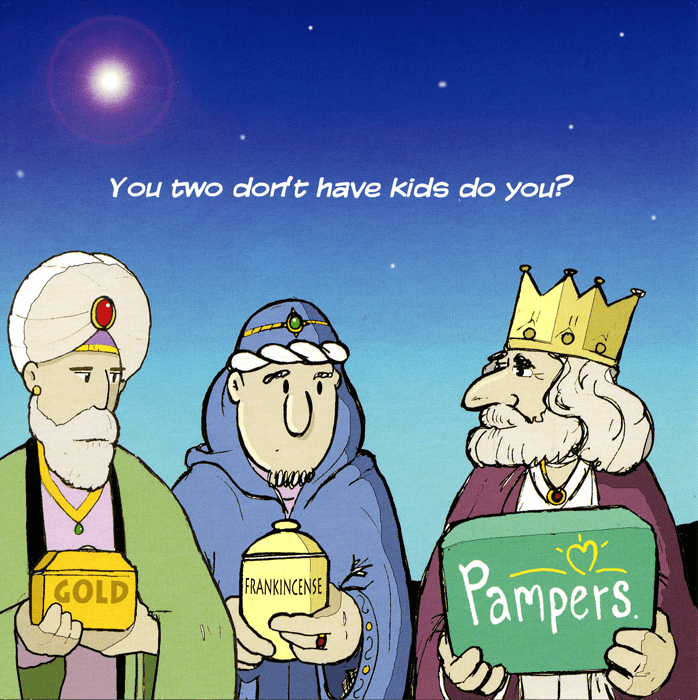 Funny Christmas Cards - Gold, Frankincense And Pampers