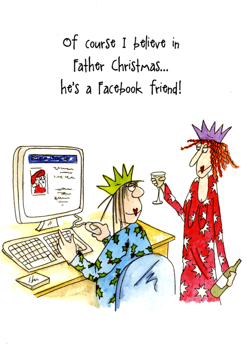 Funny Christmas Cards - Father Christmas - Facebook Friend (6 X 4 Inches)