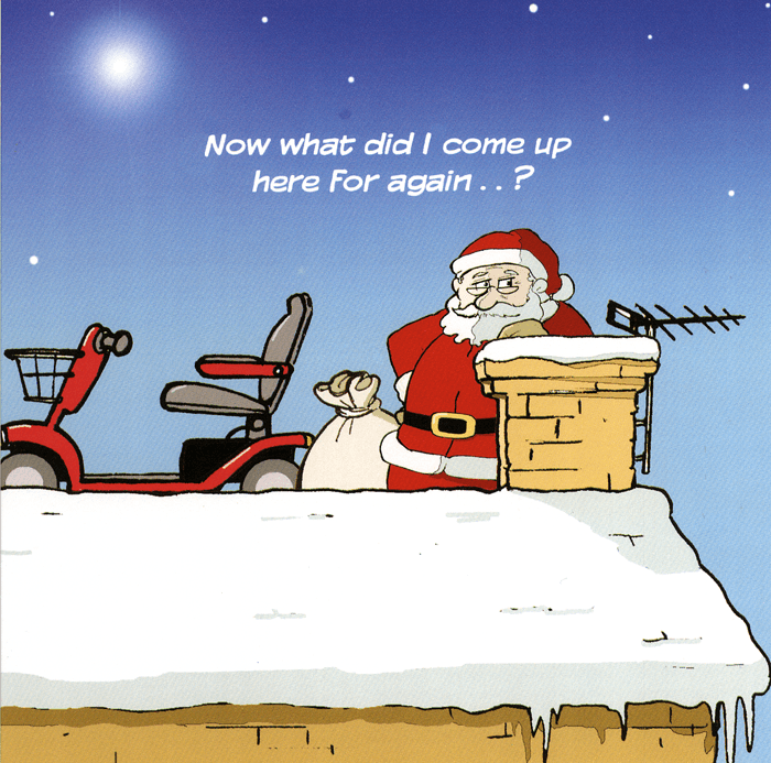 Funny Christmas Cards - Santa - What Did I Come Up Here For Again?