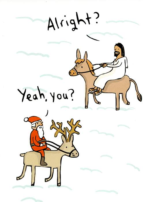 Funny Christmas Cards - Jesus Meets Father Christmas