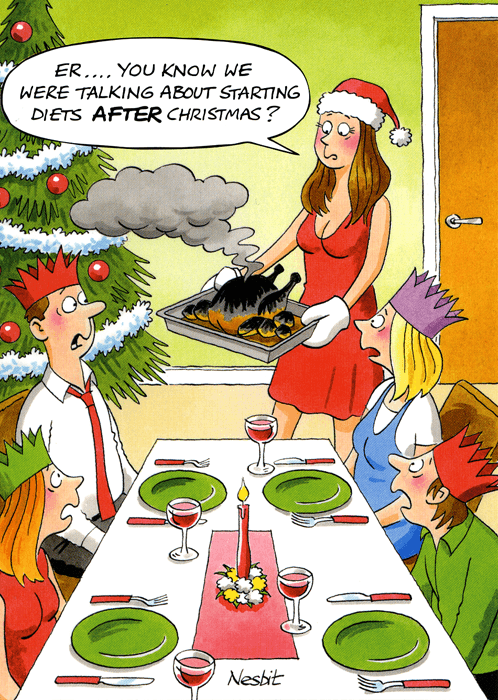 Funny Christmas Cards - Talking About Starting Diets AFTER Christmas
