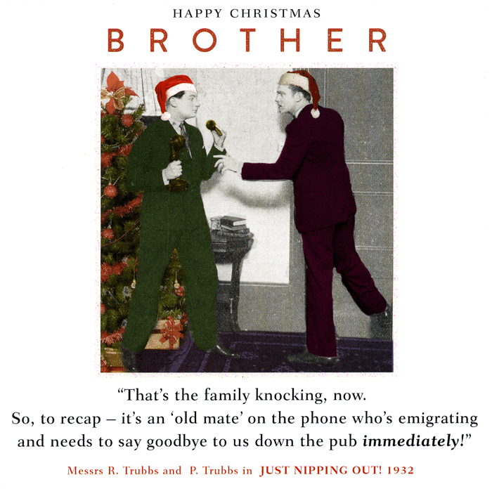 Funny Christmas Cards - Brother - Down The Pub