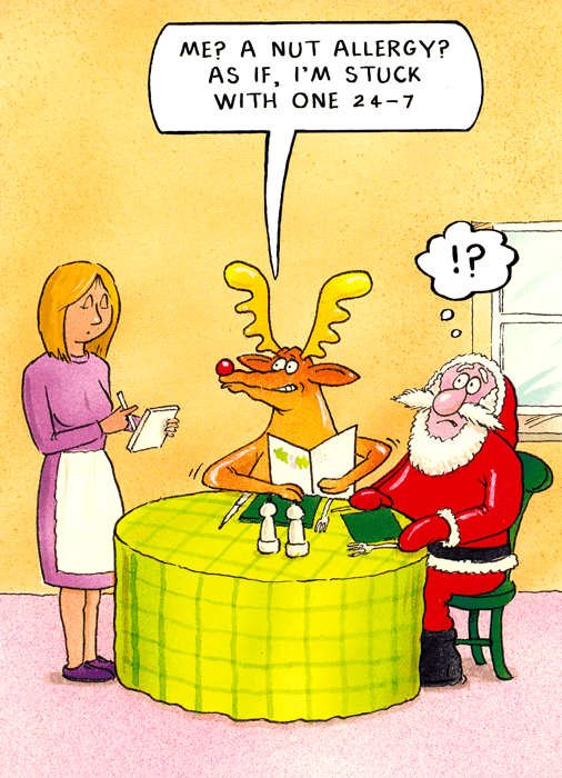 Funny Christmas Cards - Rudolph - Nut Allergy?