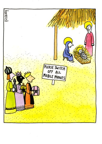 Funny Christmas Cards - Baby Jesus - Switch Off Mobile Phones