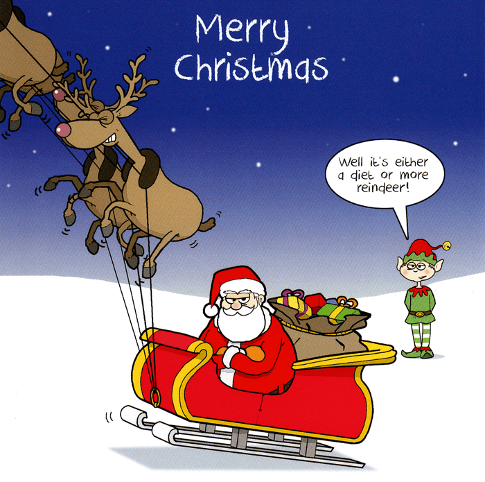 Funny Christmas Cards - Either A Diet Or More Reindeer
