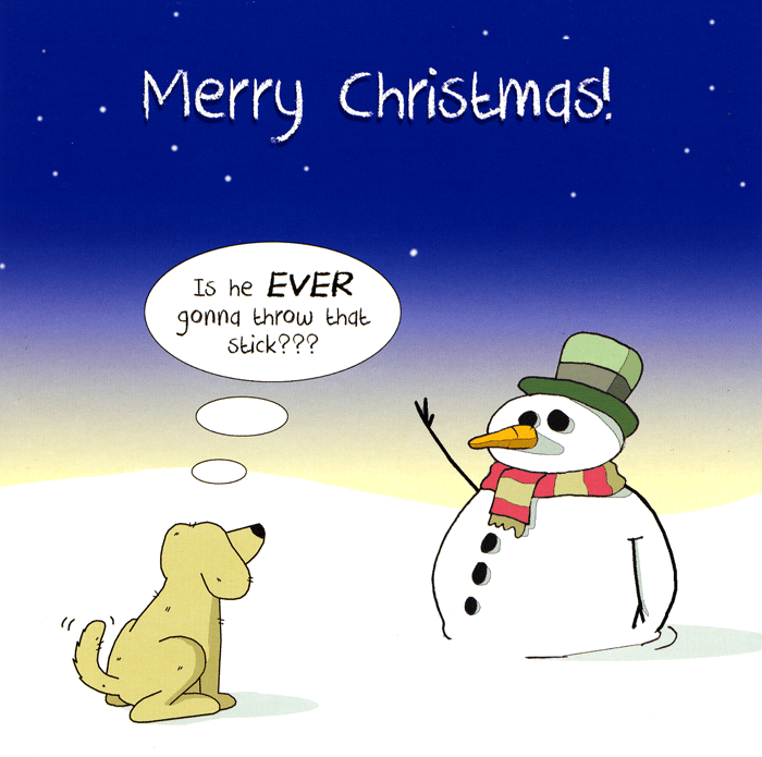 Funny Christmas Cards - Snowman - Ever Throw That Stick
