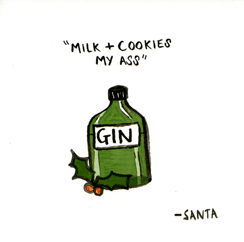 Funny Christmas Cards - Santa Wants Gin