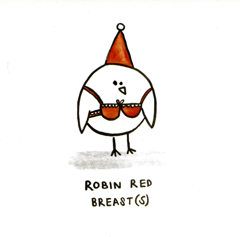 Funny Christmas Cards - Robin Red Breasts