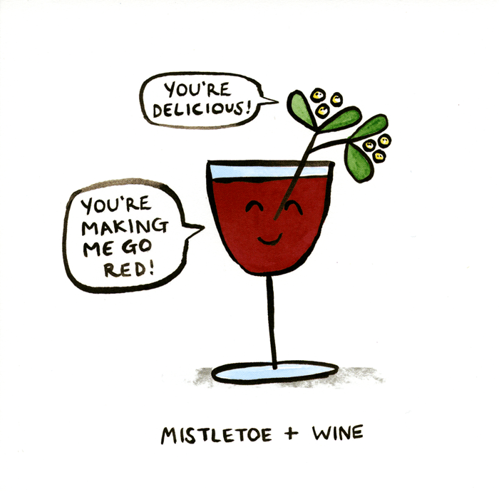 Funny Christmas Cards - Mistletoe And Wine
