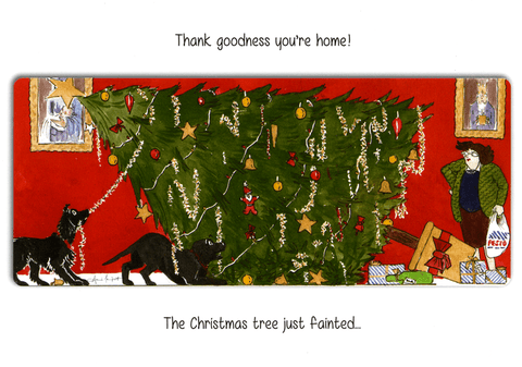 Funny Christmas Cards - Christmas Tree Just Fainted